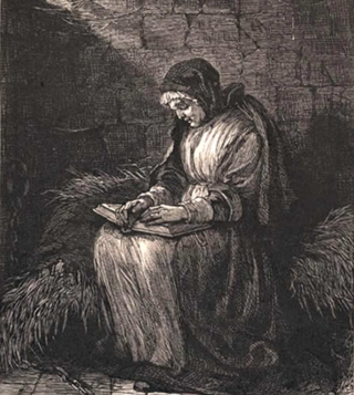 Susannah Martin reading bible in prison