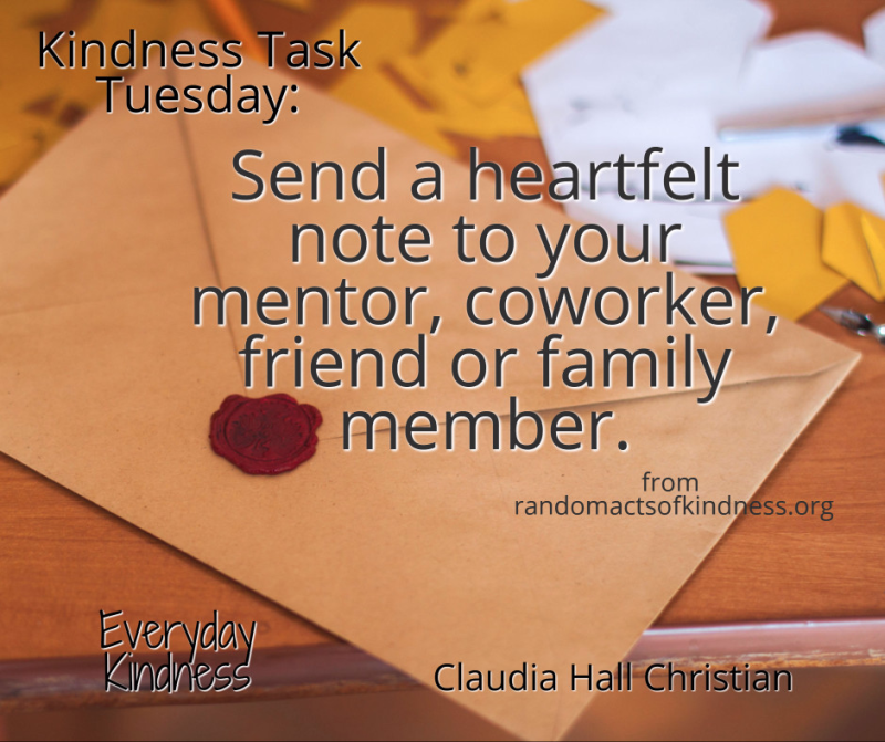 Kindness Task Tuesday: Send heartfelt note