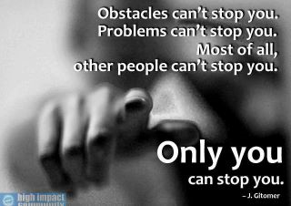 Only you can stop you!